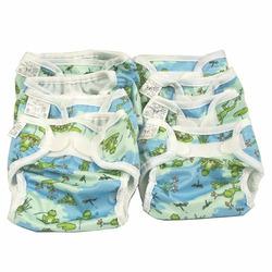 OsoCozy Prefold Cloth Diaper Basic Package - Unbleached Prefolds & Froggy Print Bummis Super Whisper Wraps