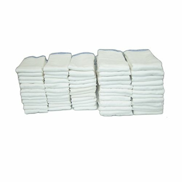 OsoCozy Prefold Cloth Diaper Basic Package - Bleached Prefolds & White Velcro Bummis Super Whisper Wraps