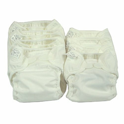 OsoCozy Prefold Cloth Diaper Basic Package - Bleached Prefolds & White Velcro Bummis Super Whisper Wraps