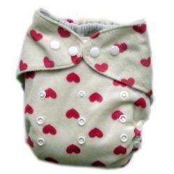 GoGreen Pocket Diaper (Fuzzy White Hearts)