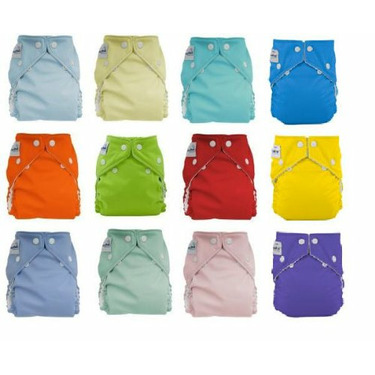 FuzziBunz One Size Cloth Diapers 12 Pack Gender Neutral Colors with Dainty Baby Reusable Bag and Rockin Green Laundry Detergent Sample Bundle