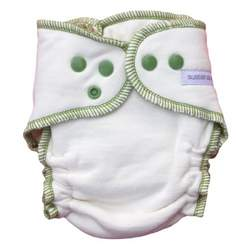 Sustainablebabyish Organic Fleece Fitted Diaper Contrasts - Medium Sprout