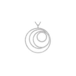 Multi Circle Diamond and White Gold Necklace