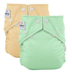 FuzziBunz Reusable Diapers – 2pk, Med Buttercream/Mint