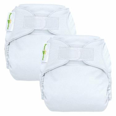 bumGenius Reusable Diaper 2 pack - White (Hook and Loop Closure)