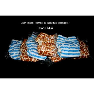 Minky Bamboo Snaps Cloth Diaper/ Nappy - Os - Blue Stripes Prints