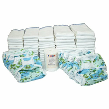 OsoCozy Prefold Cloth Diaper Basic Package - Bleached Prefolds & Froggy Print Bummis Super Whisper Wraps