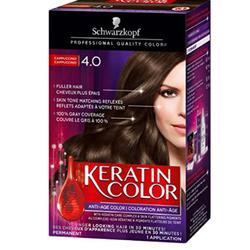 Schwarzkopf Keratin Color Anti-Age Permanent Hair Color Cream, 4.0 Cappuccino