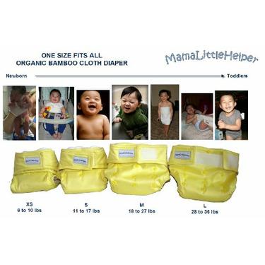 MamaLittleHelper 2.0 One Size Fitted Organic Bamboo Cloth Diaper - YELLOW