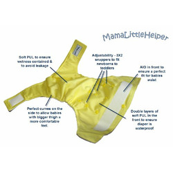 MamaLittleHelper 2.0 One Size Fitted Organic Bamboo Cloth Diaper - YELLOW