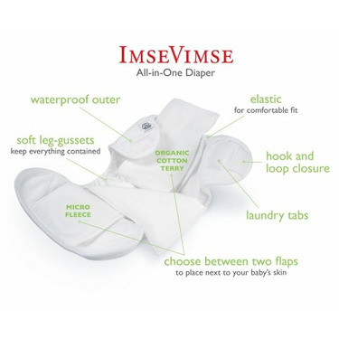 Imse Vimse Organic All In One (AIO) Diapers - Medium Snaps