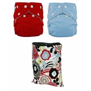 FuzziBunz One Size Diapers 2 Pack (Watermelon, Tootie Frootie) and Planet Wise Medium Wet Bag Art Deco with Dainty Baby Reusable Bag Bundle