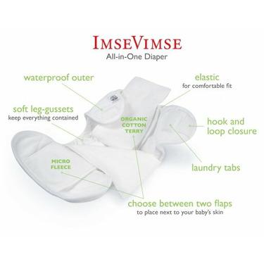 Imse Vimse Organic All In One (AIO) Diapers - Newborn Hook & Loop