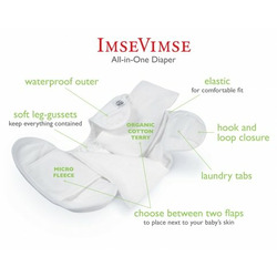 Imse Vimse Organic All In One (AIO) Diapers - 4 Pack Medium Snaps