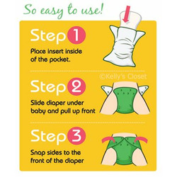 FuzziBunz Cloth Pocket Diaper GREEN DAISY - Small