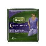 Depend Night Defense Underwear for Women Overnight Absorbency Size XL pack of 12