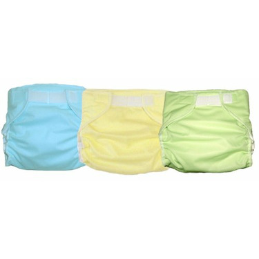 3 Kidalog Baby Love Fitted AIO Cloth Diapers - Mint, Aqua, Light Yellow