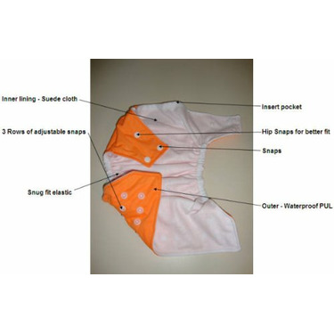 ButterBears Neon Orange One Size Cloth Pocket Diaper