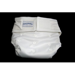 MamaLittleHelper 2.0 One Size Fitted Organic Bamboo Cloth Diaper - WHITE