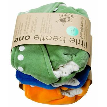 3 pack Little Beetle Organic Cotton diaper in Aplix (velcro) closure (size 1 (6-18 pounds))