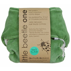 3 pack Little Beetle Organic Cotton diaper in Aplix (velcro) closure (size 1 (6-18 pounds))