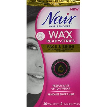 Nair Wax Ready Strips for Face & Bikini with Rice Bran Oil, 40 Strips + 4 Finishing Wipes