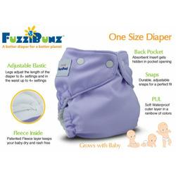 3 Pack FuzziBunz Cloth Pocket Diaper - X-Small - Boy Colors