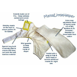 MamaLittleHelper 2.0 One Size Fitted Organic Bamboo Cloth Diaper - PEACH