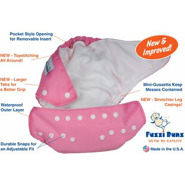 FuzziBunz Perfect Size Diaper - WHITE LARGE