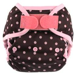 Blueberry Coveralls Hook/Loop Diaper, Pink on Chocolate