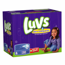 Luvs Premium Stretch Diapers with Ultra Leakguards, Size 4 (22-37 Lbs), 180 Diapers