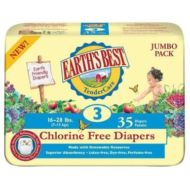 Earth's Best TenderCare Chlorine Free Diapers, Size 3,  16-28 Pounds, (Case of 140)