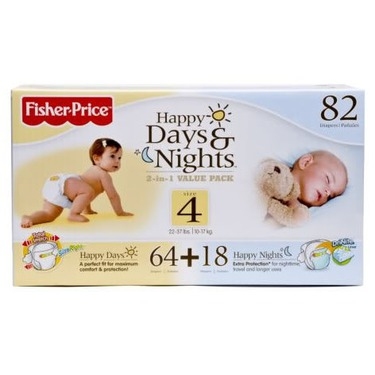 Fisher Price Happy Days and Nights Diapers, Large, 22-37 Lbs., 82-Count