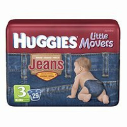 Huggies Little Movers Jean Diapers, Size 3, 72-Count