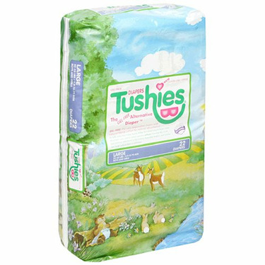 Tushies Diapers, Large (22-35lbs), Case Pack, Four - 22 Count Packs (88 Diapers)