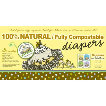 Broody Chick 100% Natural Fully Compostable Diapers (Newborn 6.6 - 13.2 lbs. (36-Count))