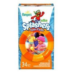 Pampers Splashers Diapers Size 3/4 - 16-34 lbs (Styles May Vary)