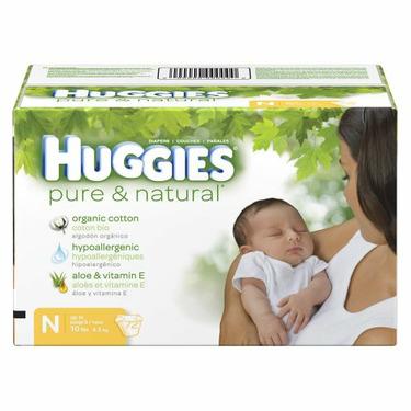 Huggies Pure & Natural Baby Diapers - Newborn (72 Count)