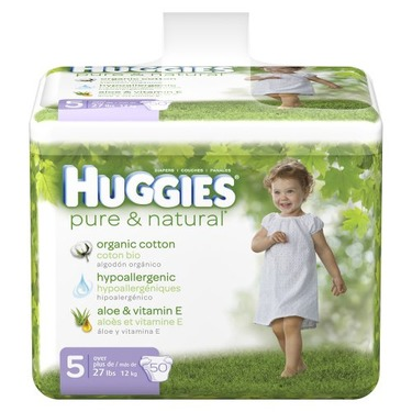 Huggies Pure & Natural Baby Diapers - Size 5 (50 Count)