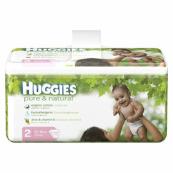Huggies Pure & Natural Baby Diapers - Size 2 (72 Count)