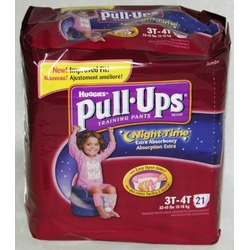 Huggies Pull-Ups Night Time Training Pants for Girls, Jumbo Pack, Size 3T-4T 21 ea