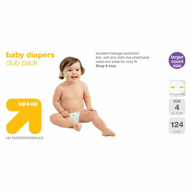 up & up™ Diapers Club Box - Size 4 (124 Count)