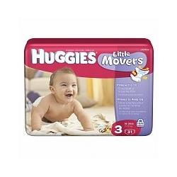 Huggies Supreme Little Movers Diapers, Jumbo Pack, Size 3, 16-28lbs 31 ea