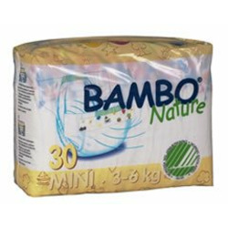 Bambo Nature® Eco-Friendly Baby Diapers - Size 2 - Mini - Fits 6.6 to 13 lbs - 30/Bg