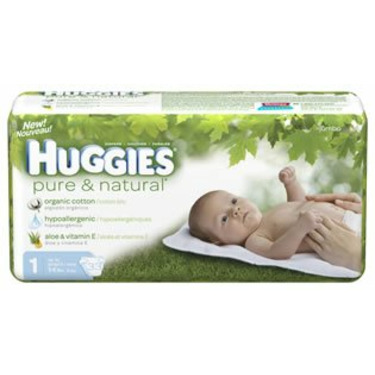 Huggies Pure & Natural Baby Diapers, Step 1, 33-Count