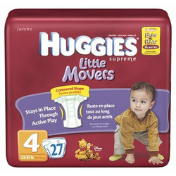 Huggies Supreme Little Movers Diapers, Jumbo Pack, Size 4, 22-37 lbs 27 ea