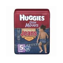 Huggies Jeans Little Movers Diapers, Jumbo Pack, Size 5, 27+ 21 ea