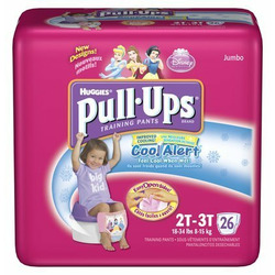 Huggies Pull-Ups Training Pants for Girls with Cool Alert, Jumbo Pack, Size 2T-3T 26 ea