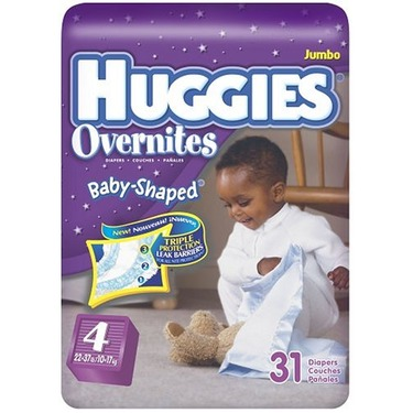 Huggies Overnites Baby-Shaped Diapers, Size 4, 31-Count