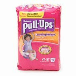 Huggies Pull-Ups Training Pants for Girls with Learning Designs, Jumbo Pack, Size 2 4T-5T 19 ea